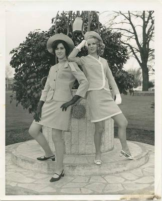 Models posing by wishing well; Robertson, Roswitha; 2020/27/3/3