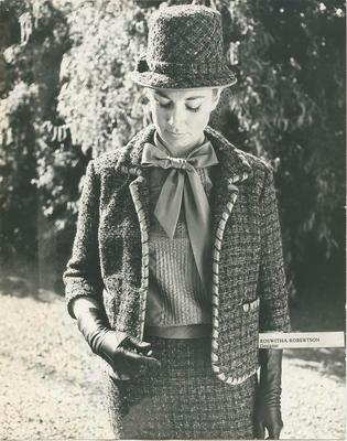 Model wearing two piece tweed suit and hat; Robertson, Roswitha; Holderness, Peter; 2020/27/4/10