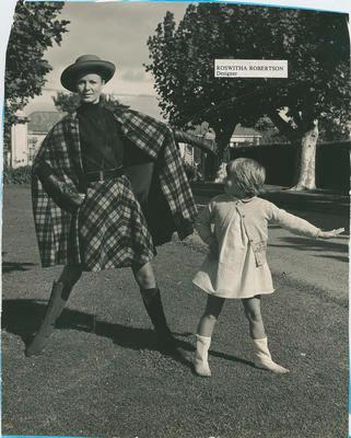 Model wearing two piece tartan wool suit; Robertson, Roswitha; 2020/27/4/12