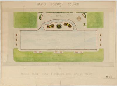 Plan, Model yacht pond and paddling pool, Marine Parade; Napier Borough Council
