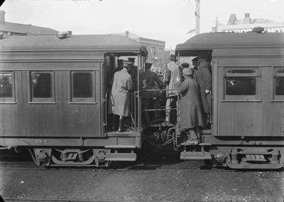 Men onboard train