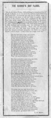 Poem, The Hawke's Bay Flood