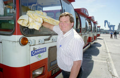 Buses arrive at Port