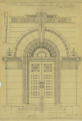 Architectural plan, Front entrance detail, Hawke's Bay Museum and Art Gallery