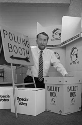 Hawke's Bay electorate returning officer John Forde, with the equipment prepared for 1993 general election.