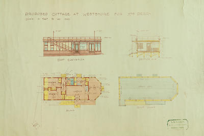 Architectural plan, Proposed cottage at Westshore for Mrs Perry