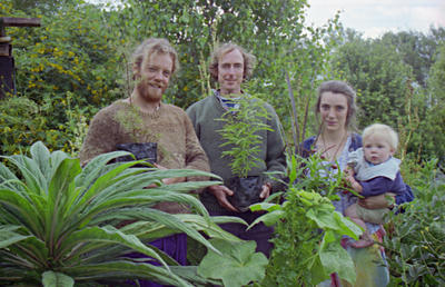 Bruce Olsen, Keith Symonds, and Marie Chapman Olsen with baby Rata