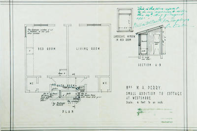 Architectural plan, small addition to cottage at Westshore for Mrs M A Perry