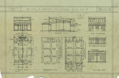 Architectural plan, two shops in Ruataniwha Street, Waipukurau for Alex Blom