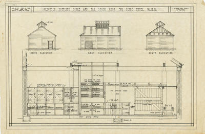 Architectural plan, proposed Bottling Store and Bar Stock Room for Clyde Hotel, Wairoa