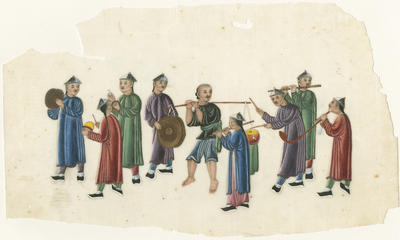 Untitled - musicians carrying wind and percussion instruments