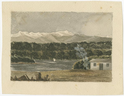 Untitled - mountains, forest, lake, boat and hut; Unknown