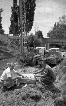 Test drilling on the site of a proposed bridge near Tikokino