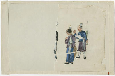 Untitled - two figures in blue and mauve tunics