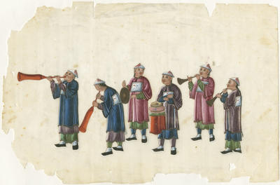 Untitled - six musicians with wind and percussion instruments
