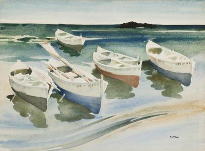 Boats in the Mediterranean Shore