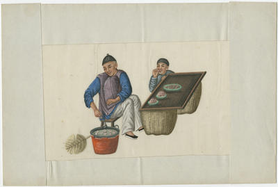 Untitled - two men and dumpling stand