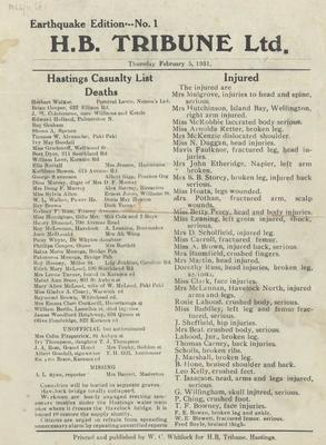 Bulletin, Hawke's Bay Tribune, Earthquake Edition