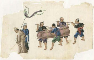 Untitled - figures carrying coffin with men flying kite