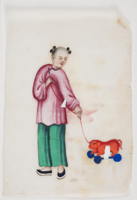 Untitled - person in green trousers and pink top with toy on wheels