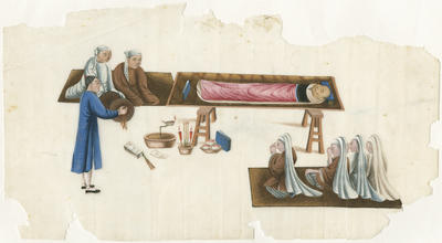 Untitled - man on sickbed with attendants