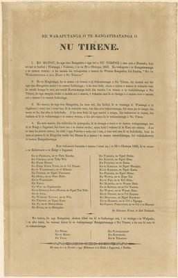 Leaflet, He Wakaputanga o te Rangatiratanga o Nu Tirene