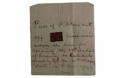 Manuscript, opening of the railway to Eskdale