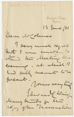 Letter, Edward Craig Stuart