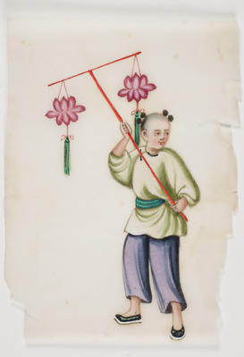 Untitled - person in blue trousers and green top holding lantern