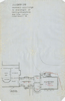 Architectural plan, Proposed additions to residence at Greenmeadows, Wharerangi
