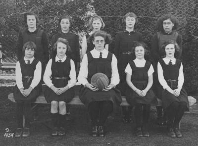 Group portrait, Pakowhai School Basketball (Netball) Team