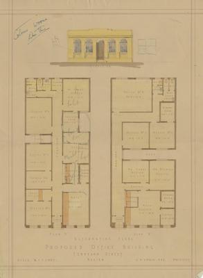 Architectural plan, Rainbow, Hobbs and Nesbitt, proposed office building Tennyson Street, Napier; Hay, James Augustus Louis