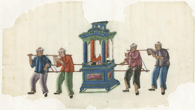Untitled - four men carrying a sedan chair