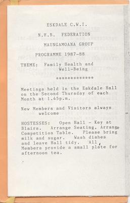 Programmes, Eskdale Country Women's Institute; Eskdale Women's Institute; 2013/56/15