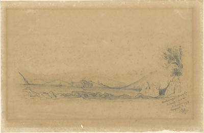 Pencil sketch, Anchorage, Bay of Islands, from Nikonui