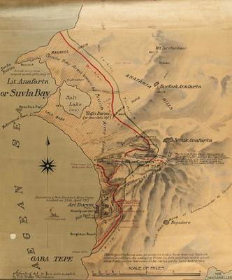 Map, Suvla Bay and The Dardanelles