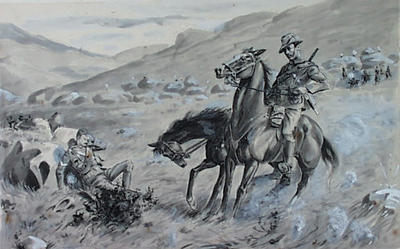 Untitled - soldier on horseback rescuing another soldier