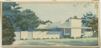 Watercolour sketch, perspective of a white modernist house