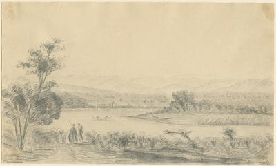 Untitled - river with two figures, hills and village