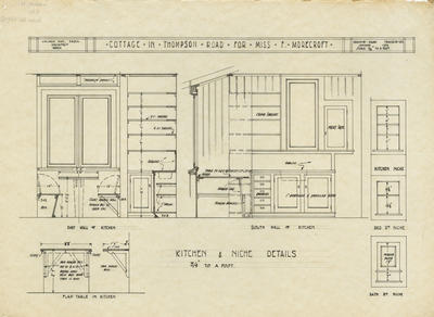 Architectural plan, cottage in Thompson Road for Miss Florence Morecroft