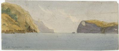 Untitled - sea with steep coastal hills