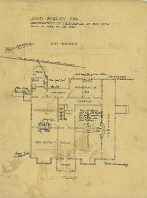 Architectural plan, John Shirley's residence at Bay View