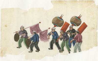Untitled - six figures with lanterns, flags, banners and drums