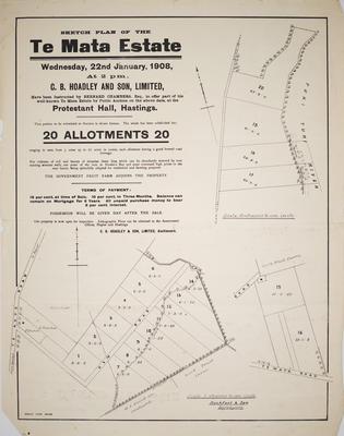 Plan, Te Mata Estate; Rochfort & Son; Herald Lithography