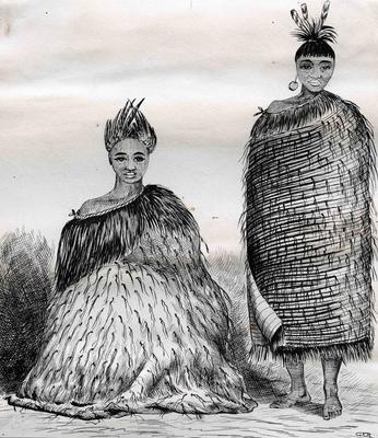 Drawing, Two Men Dressed in Korowai; Allan, Joseph Stuart