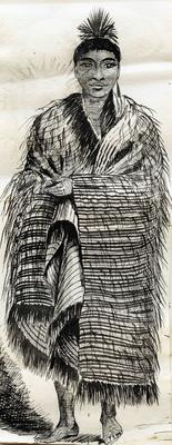 Drawing, Man in a Korowai; Allan, Joseph Stuart