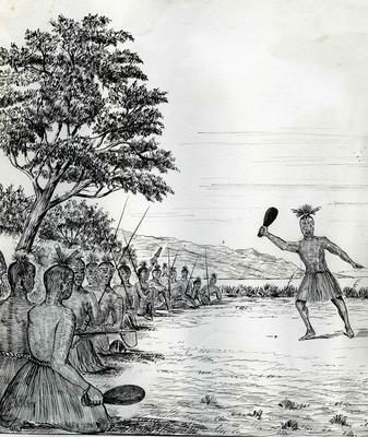 Drawing, Māori war party; Allan, Joseph Stuart