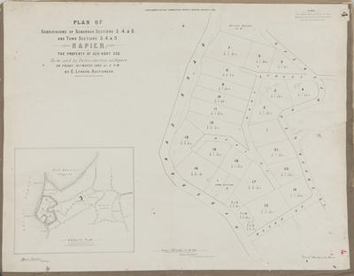 Plan, Napier sections; Jarman, Alfred; Herald Lithography; Hawke's Bay Herald
