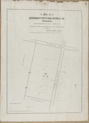 Plan, Meeanee sections for sale; Lessong, Leopold; Daily Telegraph