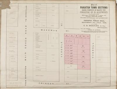 Plan, Pahiatua Township town sections for sale